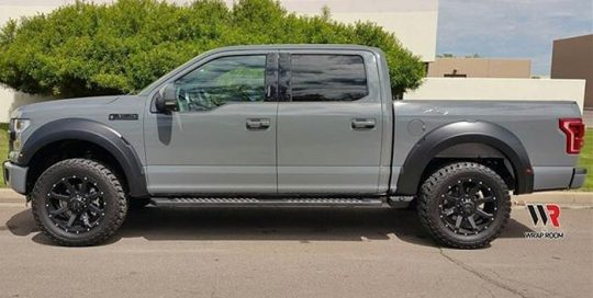 Ford F150 wrapped in Avery SW Gloss Dark Grey vinyl