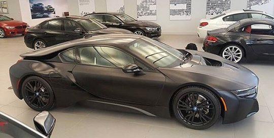 BMW I-8 wrapped in Satin Black vinyl