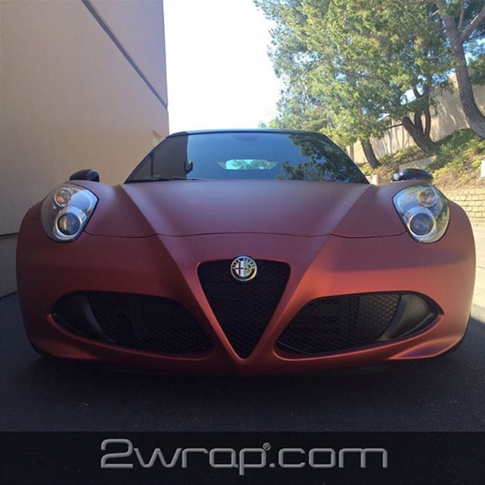 Alfaromeo 4C wrapped in Arlon 2600LX Red Aluminum vinyl