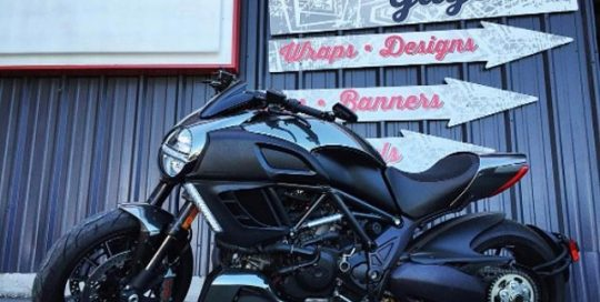 Ducati Motorcycle wrapped in Avery SW Black Chrome vinyl