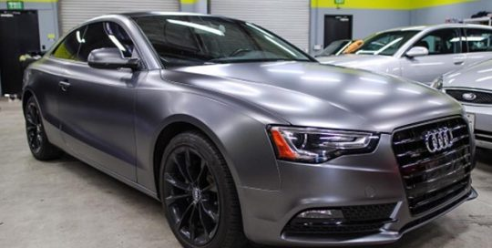 Audi S5 wrapped in Satin Dark Gray vinyl