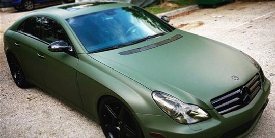 Mercedes Benz C63 wrapped in Matte Military Green vinyl