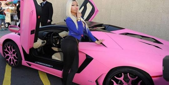 Nickiminaj Lamborghini Aventador wrapped in Matte Pink vinyl