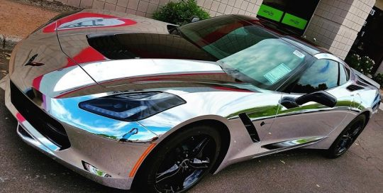 Corvette wrapped in Avery SW Silver Chrome vinyl
