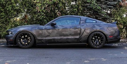 Ford Mustang wrapped in custom printed camo on 3M IJ180Cv3 vinyl