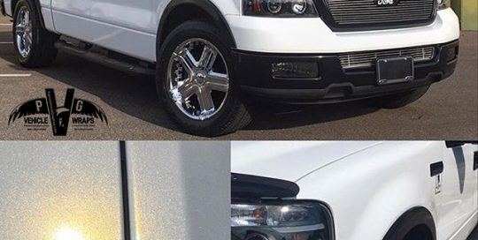 Ford F150 wrapped in Gloss White Gold Sparkle vinyl