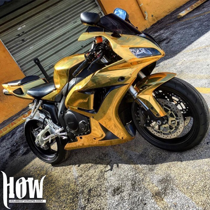 Honda Cbr 1000 Wrapped In Avery Sw Gold Chrome Vinyl