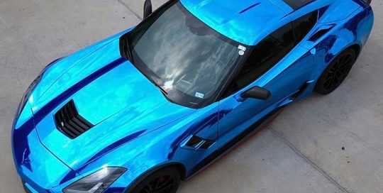 Chevrolet Corvette wrapped in Avery SW Blue Chrome vinyl