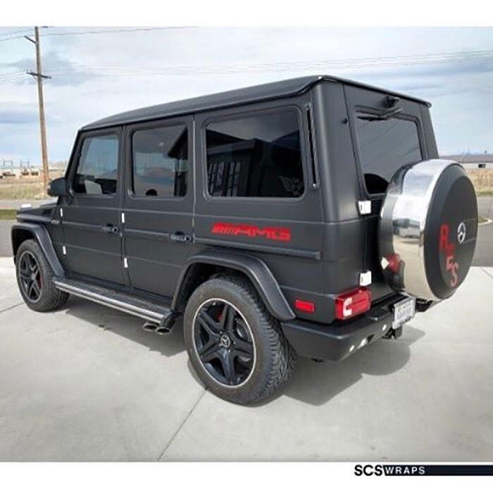 Gwagon Jeep Car wrapped in Matte Black vinyl