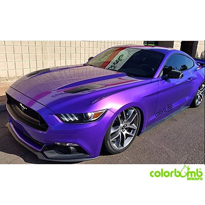Mustang wrapped in Arlon Gloss Amethyst Candy vinyl