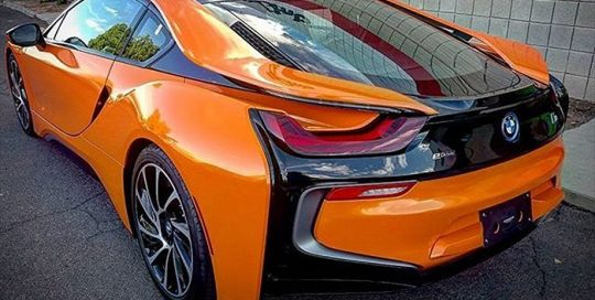 BMW I-8 wrapped in Gloss Burnt Orange vinyl