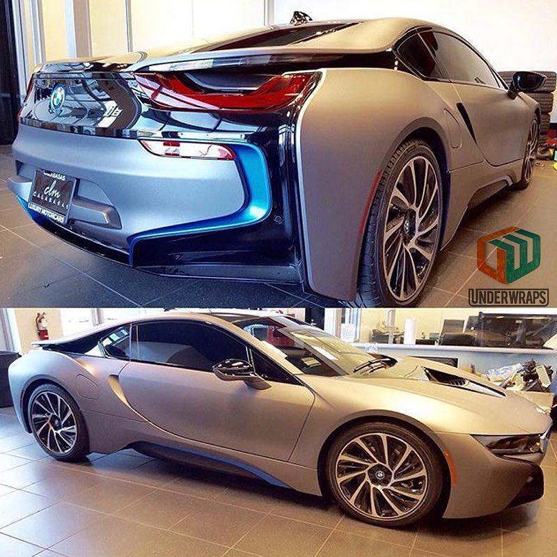 BMW I8 wrapped in Avery SW Matte Charcoal Metallic vinyl