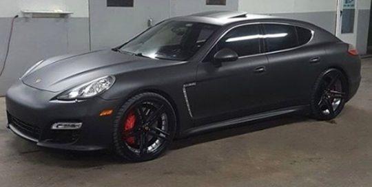Porsche Panamera wrapped in Avery SW Matte Black vinyl