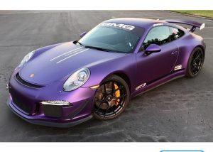 Porsche GT-3 wrapped in Avery SW Matte Purple Metallic vinyl