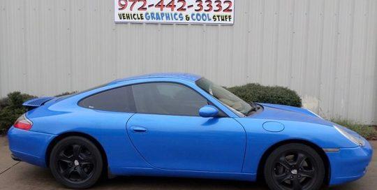 Porsche Carrera wrapped in Avery SW Metallic Diamond Blue vinyl