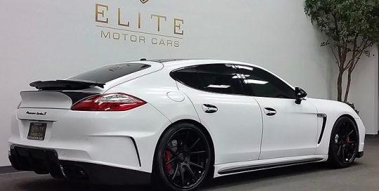 Porsche Panamera Turbos wrapped in Avery SW Satin White vinyl