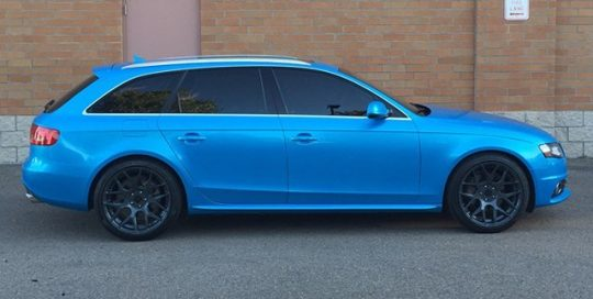 Audi A-4 wrapped in Avery SW Bahama Blue Pearl vinyl