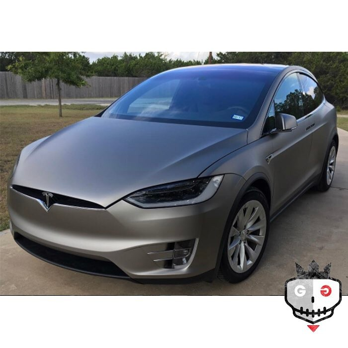 Tesla Modelx wrapped in Matte Gray Aluminum vinyl
