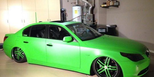 BMW 550 wrapped in Matte Apple Green vinyl
