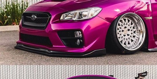 Subaru WRX wrapped in Gloss Fierce Fuchsia vinyl
