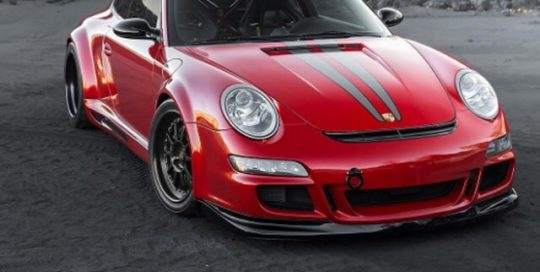 Porsche Wide Body 997-GT wrapped in Gloss Dragon Fire Red vinyl