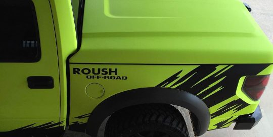 Raptor Pick Up wrapped in Satin Neon Fluorescent Yellow vinyl