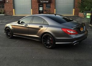 Mercedes Benz CLS-63 wrapped in Satin Dark Gray vinyl