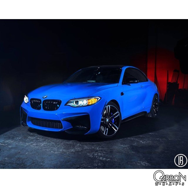 BMW M-2 wrapped in Gloss Intense Blue vinyl