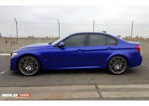BMW M-3 wrapped in Satin Mystique Blue vinyl