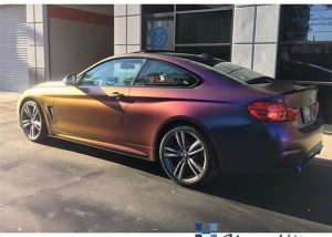 BMW 435-I wrapped in Avery ColorFlow Satin Rushing Riptide Cyan/Purple shade shifting vinyl