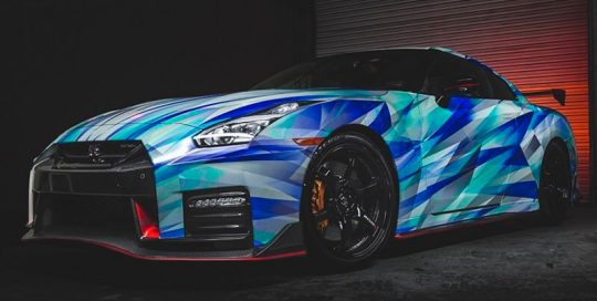 Nissan GTR wrapped in custom printed 3M Reflective 780mC-10R vinyl