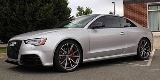 Audi RS5 wrapped in Avery SW Gloss Metallic Silver vinyl