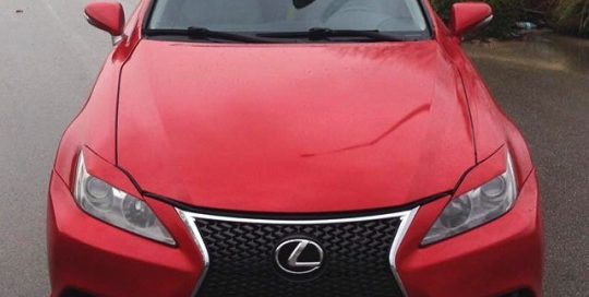 Lexus wrapped in Gloss Dragon Fire Red vinyl