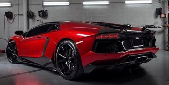 Aventador wrapped in Avery SW Red Chrome vinyl