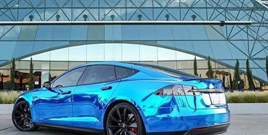 Tesla SP-85 wrapped in Avery Blue Chrome vinyl