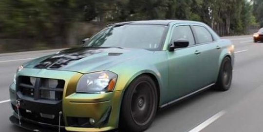 Chrysler-300 wrapped in Avery ColorFlow Satin Fresh Spring Gold/Silver shade shifting vinyl