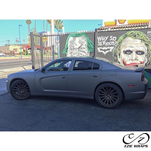 Dodge Charger wrapped in Matte Gray Aluminum vinyl