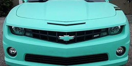 Chevrolet Camaro wrapped in Avery SW Matte Vintage Green vinyl