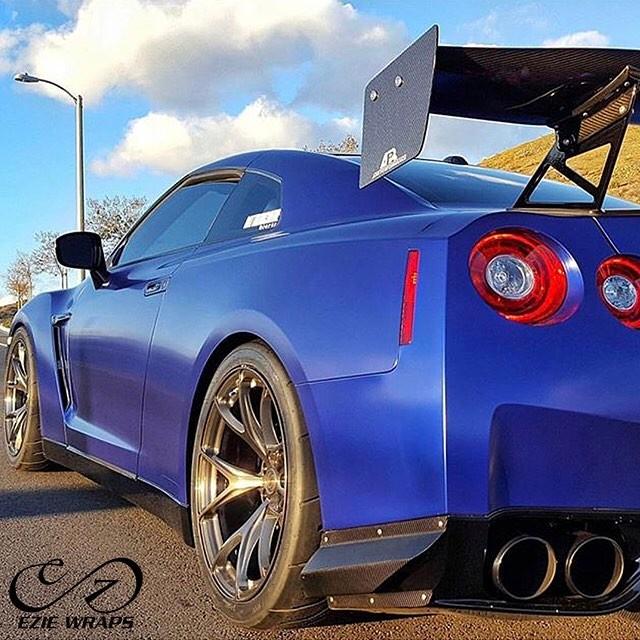 Nissan GTR wrapped in Satin Mystique Blue vinyl