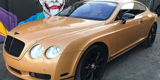 Bentley GT wrapped in Avery SW Metallic Diamond Amber vinyl