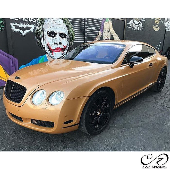 Bentley GT wrapped in Avery SW Metallic Diamond Amber vinyl