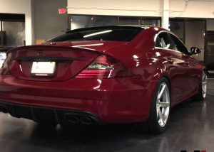Benz CLS wrapped in Gloss Cinder Spark Red vinyl