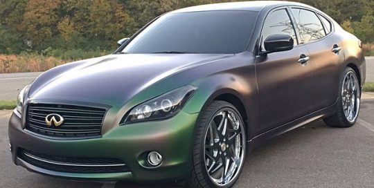 Infiniti M37X wrapped in Avery ColorFlow Satin Urban Jungle Silver/Green shade shifting vinyl