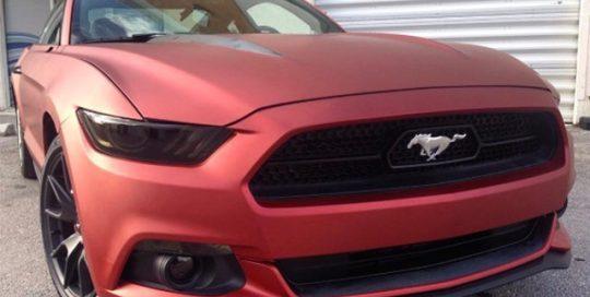 Mustang wrapped in Arlon UPP Red Aluminum vinyl