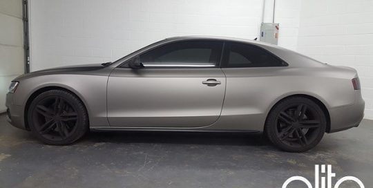 Audi S-5 wrapped in Matte Gray Aluminum vinyl