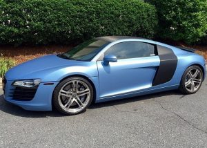 Audi R-8 wrapped in Avery SW Matte Frosty Blue Metallic vinyl