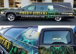 Hearse Series Car wrapped in custom printed Avery 1105EZRS vinyl