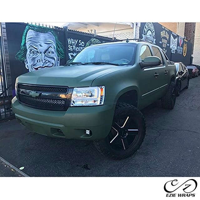 Chevy Avalanche wrapped in Matte Military Green vinyl