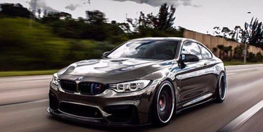 BMW M-4 wrapped in Avery SW Black Chrome vinyl