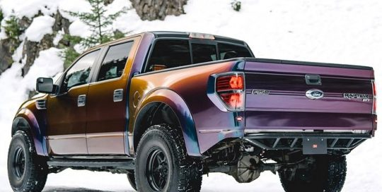Ford Raptor wrapped in the new 3M Gloss ColorFlip Deep Space Blue/Bronze/Purple shade shifting vinyl